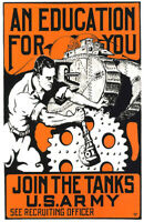 """Vintage U.S. Army Recruiting Poster """"Join the Tanks!"""" WW 1"""