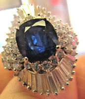 Spectacular Large 14k Gold Blue Sapphire and Diamond Ring  size 6.5  Make Offer