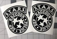 PAIR LARGE STARS Raccoon City Police Dept Resident Evil Decal UR Color Choice