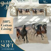 Horses Beach Animals Brown Quilt Cover Double Bed Single Queen King Size