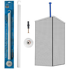 White Shower Curtain Rail Ceiling Support 55cm Length Corner Rail Rod Bath
