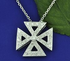 14k Solid White gold Natural Diamond cross pendant 0.85 ct  made in USA