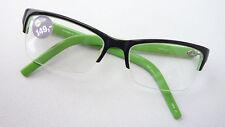 Brillengestell Fassung ohne Unterrand schwarz grün Kunststoff halber Rand Gr. S
