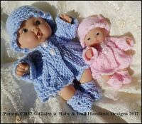 "BABYDOLL HANDKNIT DESIGNS KNITTING PATTERN LACY COAT SET 5-8"" BERENGUER DOLLS"