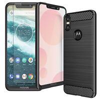 For Motorola One Case Carbon Fibre Gel Cover & Glass Screen Protector