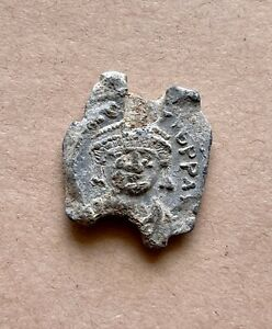 Byzantine lead seal of emperor Mauricius Tiberius (582–602). Nice and rare!