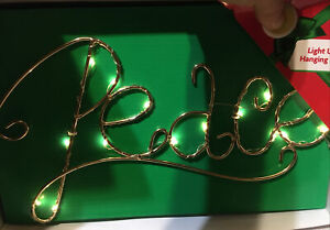 new PEACE Gold metal scripture Light Up Hanging Sign frame