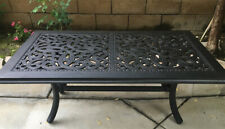 Outdoor Coffee Table Rectangular Cast Aluminum Patio Pool Side Accent Furniture