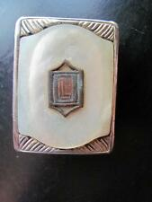 Vtg Signed APOLLO Stabryt Sylvr w/Pat #1783854 Silver? Mother of Pearl? Buckle