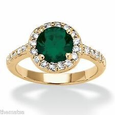 WOMEN ROSE GOLD CZ EMERALD MAY BIRTHSTONE RING SIZE 5 6 7 8 9 10