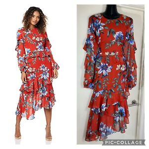 Stunning COOPER ST red Floral Midi Dress Size 16