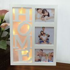 Warm White 10 LED Light Up Wooden Home Multi Picture Photo Frame Xmas Gift Decor