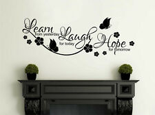 """Inspirational Wall Quote """"Learn, Laugh, Hope"""" Wall Art Sticker, Vinyl Decal,PVC"""