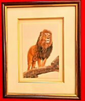 Hand Painted The Lion King Animal Miniature Painting India Framed Artwork Decor