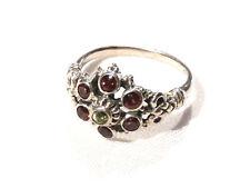 Bijou argent 925 bague rosace grenats et péridot  naturels taille 55  ring