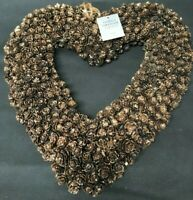 GISELA GRAHAM HEART BROWN/COPPER GLITTER HANGING DOOR WREATH 31CM CHRISTMAS