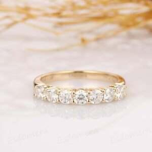 Engagement Wedding Half Eternity Band Ring 1.59Ct Diamond 14K Yellow Gold Plated