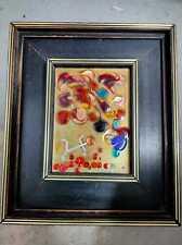 """Enamel On Copper Vintage Abstract Art signed by Israeli artist Matiel 6.5X5"""" net"""