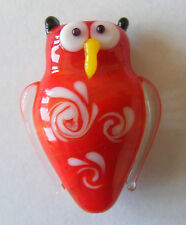 1 Handmade Lampwork Glass Owl Bead SRA - Bright Red