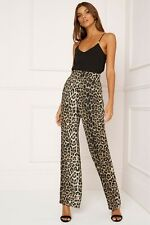 new LIPSY LEOPARD PRINT TROUSERS WIDE LEG SATIN PANTS UK SIZE 14 EUR 42 USA 10