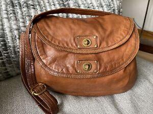 MARC BY MARC JACOBS Q Natasha Large Cognac Brown Leather Crossbody Shoulder Bag