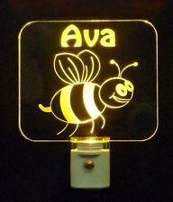 Personalized Bumble Bee Night Light, LED, Nursery, Baby, Kids Lamp, Handmade