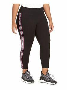 CALVIN KLEIN Womens Black Active Wear Leggings Plus Size: 1X