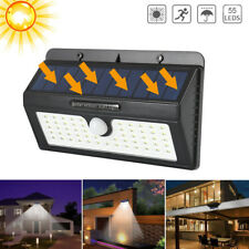 55 LEDs solar powered luz PIR movimiento jardín seguridad Spotlight impermeable
