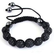 Bracelet Shamballa noir 9 perles christal et 4 hématite