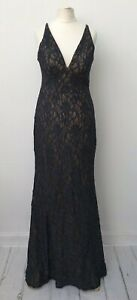 Betsy Adam Dress US 10 Lace Nude Lined Sparkly Prom Formal Wedding Maxi Dress