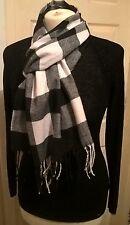 New wool cashmere blend scarf white black plaid check luxury soft VGC