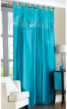 """Contemporary Tab Top Embroidered Sequin Faux Silk Taffeta Curtain Panel 57""""x90"""""""