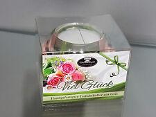 Geschenk Teelichthalter Viel Glück aus Glas Dreamlight Deko Kerze edel Blume