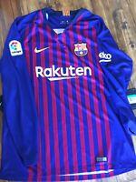 Nike Men's 2018/19 Barcelona Home L.S Stadium Jersey XL Navy/Maroon 919061 456