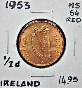 1953 Ireland Half Penny