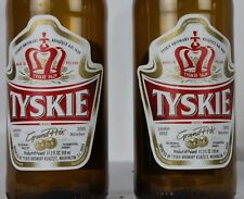 2 Vintage Tyskie Beer Bottles Metal Caps Red White Poland Polish Brewery Glass