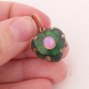 15ct gold enamel opal heart keepsake locket pendant with split ring, Victorian