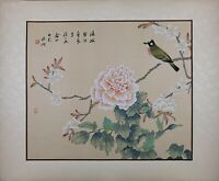 Oriental Painting on Silk, Bird on Peony Flowers, Asian Watercolor on Silk Paper