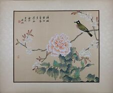 Oriental Painting on Silk, Bird on Peony Flowers, Asian Watercolor on Silk Paper