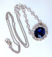 GIA Certified: 7.53ct Natural No Heat BLue Sapphire 3ct Diamonds Necklace 14kt