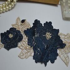 2Pcs/lot Vintage dark blue Flower and  leaf Embroidered Lace  Applique Patches