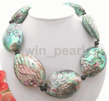 Big Natural 43x58mm Paua Abalone Shell Necklace
