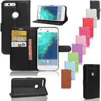 For Google Pixel / XL Phone Leather Flip Wallet Protective Card Case Cover Stand