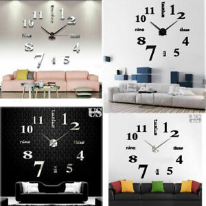 NEW Modern Large Clock 3D Mirror Surface Stick on wall 3D Home Decor Art Design