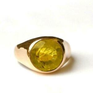 Panuchdhatu Astrological Rashi Ratan Yellow Sapphire  Pukhraj Ring Size 10.5