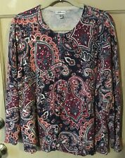 Women's 2X Colorful Paisley Cotton Knit Cardigan Sweater Top By Croft & Barrow