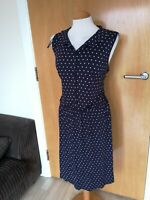 Ladies Dress Size 18 Navy Spotted Button Down Smart Casual Day Party