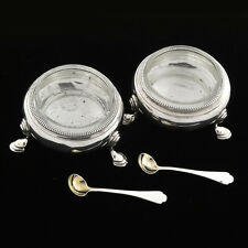 Antique 19th c. Pair London Sterling Salt Cellar  By E B with  Liners & Spoons