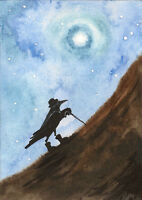 ACEO CROW RYTA RAVEN PRINT OF PAINTING FOLK ART FANTASY GOTHIC MAGIC FANTASY