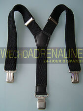 MENS MEN BRACES SUSPENDERS BLACK 40mm!!! WORK UTILITY HEAVY DUTY LEATHERS BRACES